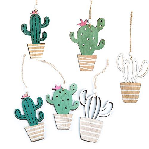 Logbuch-Verlag 6 colgantes de madera de cactus, para colgar, decoración de Pascua, decoración veraniega, para fiestas de verano