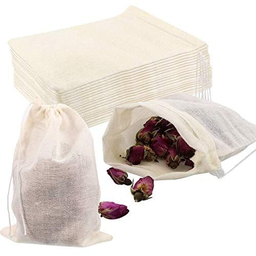 VEGCOO 100pcs Bolsas de Algodón Reutilizables, Pequeñas Bolsas con Cordón Bolsitas de Hierbas, Bolsas de Café, Té 8X10 cm