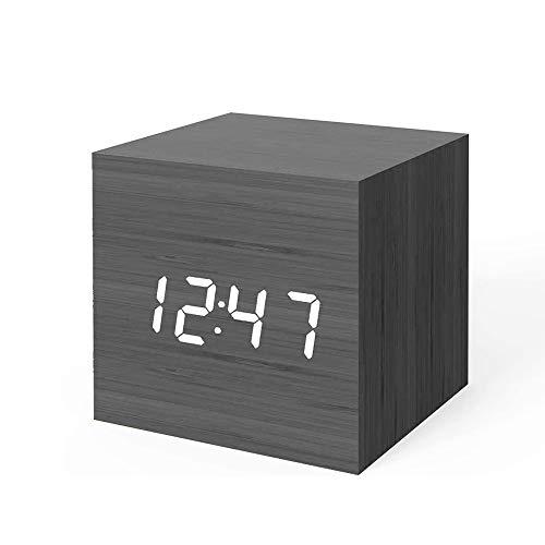 Digitale Wekker Met Datum Temperatuur Tijdweergave Spraakbesturing USB/Batterijvoeding Geschikt Voor Slaapkamers Woonkamer Keuken Beste Cadeau Voor Kinderen,A white font