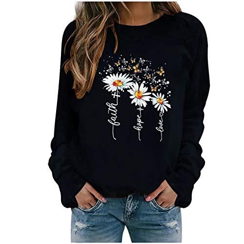 ReooLy Winter Tops Casuales para Mujer Sudadera con Estampado de Girasol para Mujer Blusa Camiseta Suéter(Negro,M)