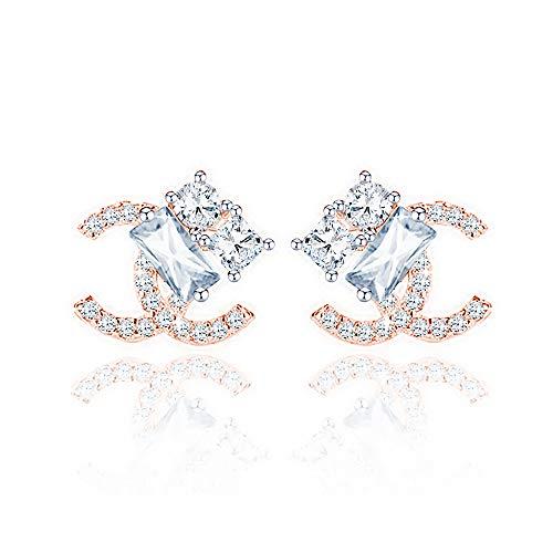 Wikimiu Ohrringe Damen Silber 925, Doppel C Design Ohrringe, eleganter Modeschmuck für Frauen mit Geschenkbox (Gold)