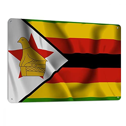Swono Metall-Blechschilder, Simbabwe-Flagge, 3D-Illustration, Metall-Blechschild für Männer & Frauen, Wanddekoration für Bars, Restaurants, Cafés, Pubs, 30,5 x 20,3 cm