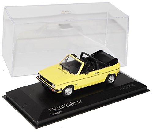 Minichamps Volkwagen Golf I Gelb Cabrio 1974-1983 1/43 Modell Auto mit individiuellem Wunschkennzeichen