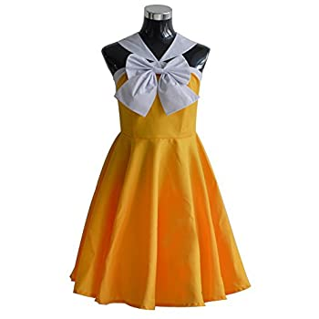HonRmon Fairy Tail Cosplay Levy McGarde Costume Dress Outfit  Women-M  Yellow