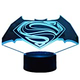 Superhero Batman Anime Theme Night Light 3D Stereo Vision LED Bedroom Table Lamp USB Child Sleep Light Touch 7Color/Remote Control 16Color Fashion Home Decor Creative Christmas Gift