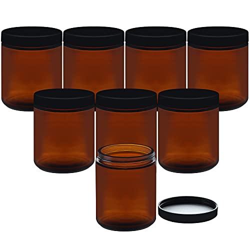 Belle Vous Tarros Cristal Ámbar Redondo (Pack de 8) 240 ml Botes de Cristal con Tapa - Vacíos Rellenables con Tapa Negra de Rosca – Cosméticos, Loción, Crema Facial, Aceites Esenciales, Maquillaje