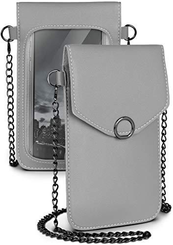 moex Handytasche zum Umhängen für Motorola und Lenovo - Kleine Handtasche Damen mit separatem Handyfach und Sichtfenster - Crossbody Tasche, Grau