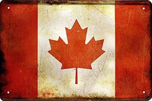 Länder Fahne Nationen National Flag Flagge Deko Blechschilder Wandschild Türschild (20 x 30 cm, Kanada Canada 1071)