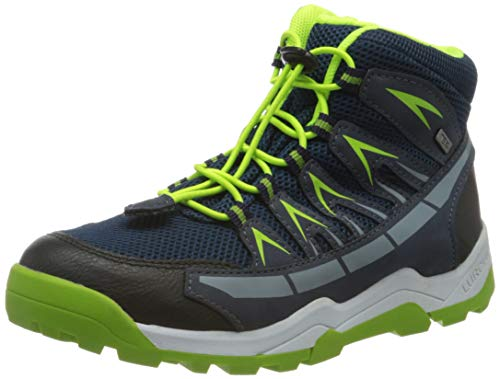 Lurchi Jungen Tristan-TEX Hohe Sneaker, Blau (Navy Green 42), 25 EU