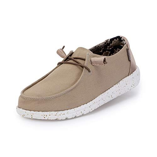 Hey Dude Wendy - Zapatos casuales para mujer, estilo mocasín, comodidad ligera, plantilla ergonómica de espuma viscoelástica, diseñada en Italia y California, color Marrón, talla 36 EU
