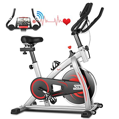 HEKA Heimtrainer Fahrrad, 15kg Schwungrad Hometrainer, Spinning Bikes Indoor, Ergometer Heimtrainer, Fitnessbikes mit Einstellbar Widerstand und Sitz, APP, Pulsmesser, LCD-Monitor, Sup bis 150kg