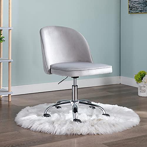 Wahson Silla de oficina de terciopelo sin brazos giratoria de 360 ° para ordenador de altura ajustable, silla de escritorio para oficina en casa, Gris