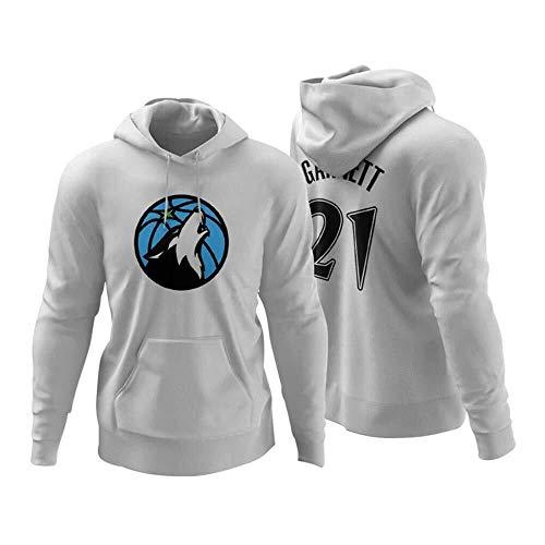 Gflyme Herren Trikot NBA Kapu Minnesota Timber KG Garnett No.21 No.22 mit Kapuze Basketball Trainingsanzug Jersey Herren Langarm-beiläufige Sweatshirt (Color : White21, Size : M)