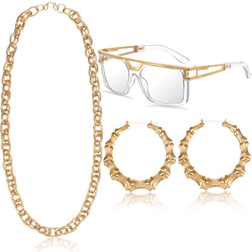 Hip Hop Woman Costume Kit Old School Rapper Sunglasses Faux Gold Rope Chain Earrings 80s/ 90s Rapper Accessories