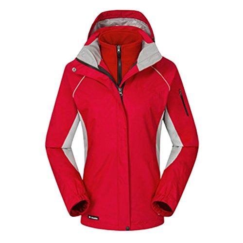 ZKOO Chaqueta de Esquí Mujeres 2 Capas Fleece Softshell Impermeable Resistente al Viento Chaqueta con Capucha Al Aire Libre Senderismo Jacket Rojo