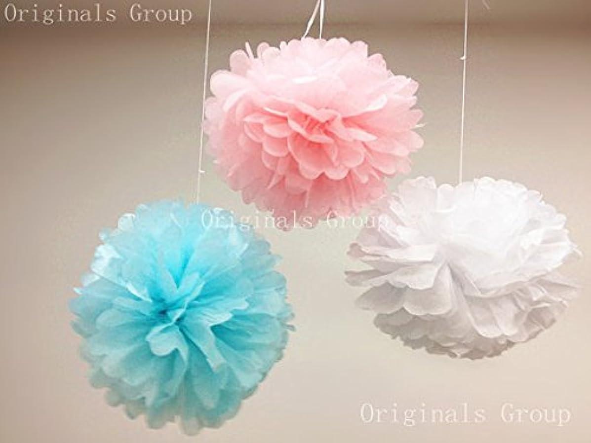 (15pcs) Baby Pink Blue Mixed Size Tissue Paper Pom Poms Lanterns Decorations