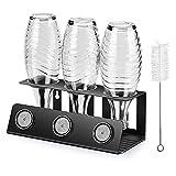 SodaStream Flaschenhalter, 3er Abtropfhalter mit Herausnehmbare Abtropfwanne und Deckelhalter, Abtropfständer für SodaStream Crystal und Emil Flaschen