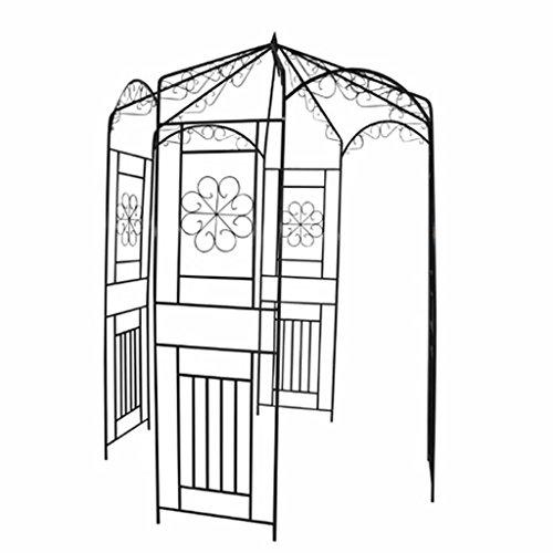 yorten Rosenbogen Rankhilfe Rankgestell Rosenpavillon aus Metall Höhe 250 cm Dunkelgrün Metallpavillon als Kletterhilfe für Rosen und Kletterpflanzen