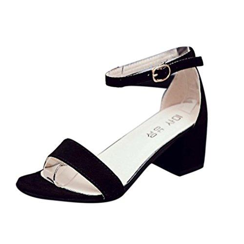 Sandalias Mujeres Sandalia de tacón grueso de una sola pieza para mujer con correa en el tobillo Sandalias de verano Zapatos LMMVP (35(CN), Negro)