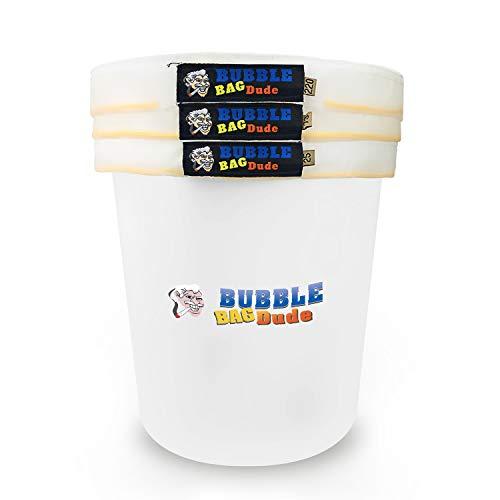 BUBBLEBAGDUDE Luftblasenbeutel All Mesh 5 Gallonen 3 Beutel Herbal Hash Luftblasenbeutel Ice Extractor Kit - Kommt mit Presssieb und Aufbewahrungstasche