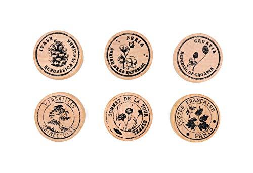 MissOrange『木製ゴム印セット』植物 デイジー キノコ いちご 松 ぼっくり クリエイティブスタンプセット クラフトカード スクラップブッキング 手帳用6個セットM-75 (Plants Catalogue-1)