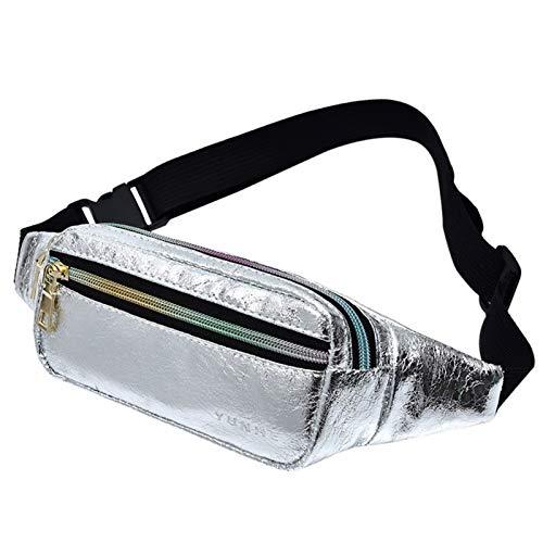 Paquete De Cintura De Viaje For Mujer Bolso Casual Impermeable Holográfico De Playa Brillante Bolso For Pierna Riñonera Monedero For Teléfono Femenino Adjustable (Color : Silver Color)