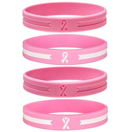 Sainstone 4-Pack Pink Awareness Ribbon Silicone Bracelets, Cancer & Cause Rubber Wristbands Gift Unisex for Men Women for Patients, Survivors, Family and Friends (4-Pack)