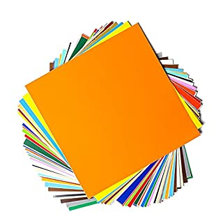 """Permanent Adhesive Backed Vinyl Sheets by EZ Craft USA - 12"""" x 12"""" - 40 Sheets Assorted Colors Works with Cricut and Other Cutters (B01HEB3UNQ) 