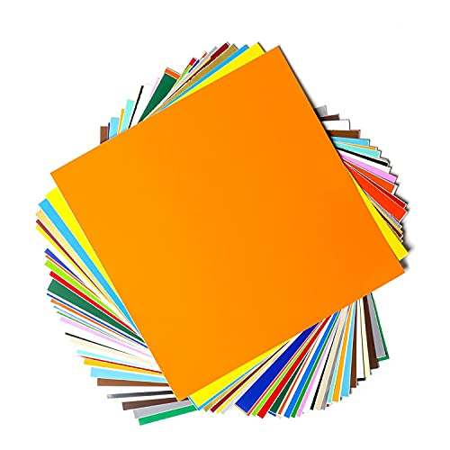 Permanent Adhesive Backed Vinyl Sheets by EZ Craft USA - 12' x 12' - 40 Sheets Assorted Colors Works with Cricut and Other Cutters
