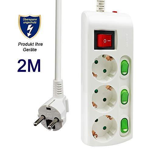 ExtraStar 3-fach Steckdosenleiste mit Einzelschalter, 16A/230V, MAX.3680W, Strom Sparen Mehrfachsteckdose mit Überspannungsschutz und Kindersicherung, Aufhängbar, CE geprüft - 2M Kabel, Weiß