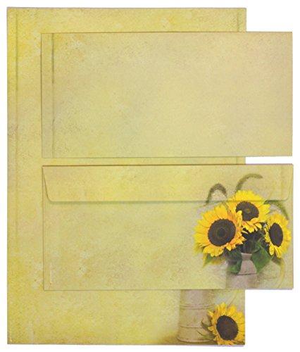 TATMOTIVE 05-0074-0090-00050 Motiv-Briefpapier Set mit Umschlag Sonnen-Blumen (25 Sets) beidseitig DIN A4