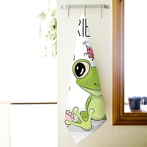 Bath Towels27.5x15.7in Soft and Absorbent,Cute Cartoon Baby in Froggy Hat and Frog Best Friends Love Theme Graphic Premium Quality 100% Superfine Fiber Towels (White,Bath Sheet)