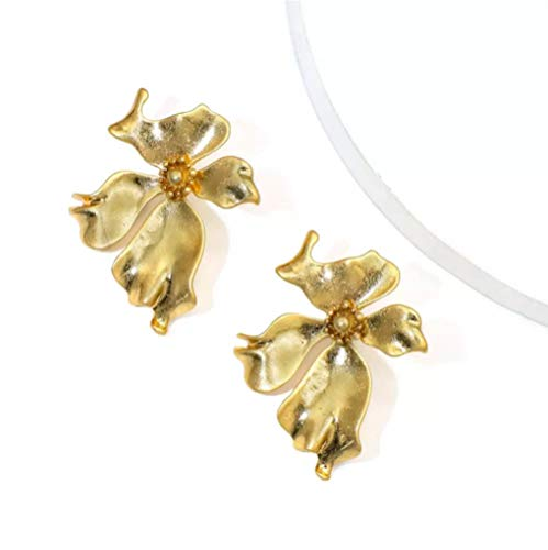 Irregular Gold Silver Color Big Flowers Drop Earrings for Women Exquisite Fashion Large Floral Earrings Wedding Jewelry