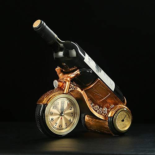 Estantería de vinos de resina creativa Mostrar estantería de la cocina Titular de vino europeo Soporte con reloj de escritorio Vino Whisky Organizer Barra de restaurante