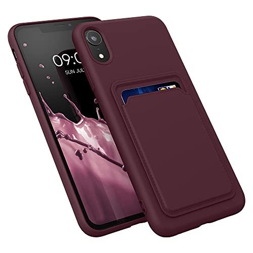 kwmobile Cover Compatibile con Apple iPhone XR - Custodia in Silicone TPU con Slot Porta Carte - Back Case Cellulare - Rosso Fulvo