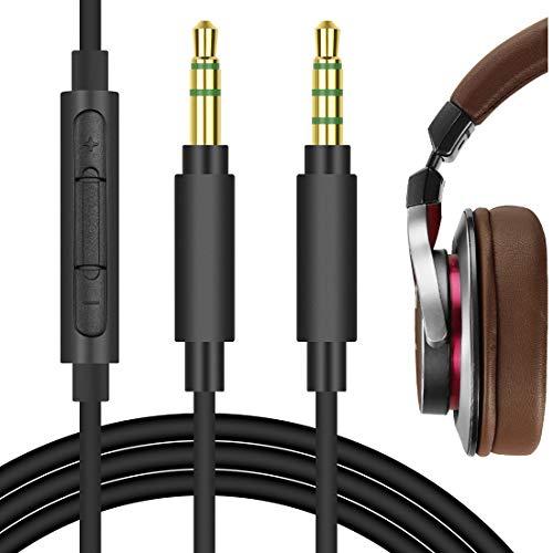 Geekria QuickFit Ersatz-Audiokabel für Audio-Technica ATH-MSR7, ATH-AR3BT, ATH-SR5, Pioneer SE-MS7BT, HDJ-700 Kopfhörer, 3,5-mm-Stereo-Kabel mit Mikrofon und Lautstärkeregler, Schwarz, 1,7 m