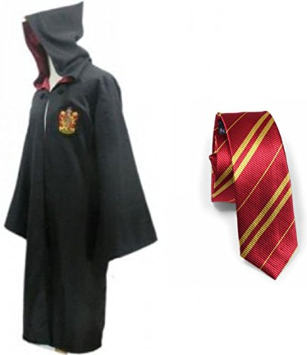 Great Adult Harry Potter Gryffindor Slytherin Ravenclaw Hufflepuff Fancy Robe Cloak Costume And Tie (S, Gryffindor Robe&Tie)