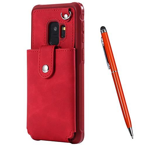 TOUCASA für Samsung Galaxy S9 Plus Hülle, Handyhülle Brieftasche PU Leder Flip [Mit Spiegeldesign] Case Magnetverschluss Handytasche Klapphülle Hülle für Samsung Galaxy S9 Plus (Red)
