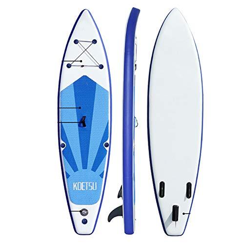 Tabla de remo inflable de 10 pies/12 pies/10 pies inflable de pie tabla de remo para adultos antideslizante Wakeboard barco de pie con bomba de doble acción, remo, mochila de transporte (3,2 m)