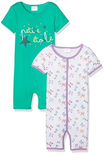 Julius Hüpeden GmbH Twins Baby-Mädchen Spieler 2er-Pack, Mehrfarbig (grün/weiß 3200), 50