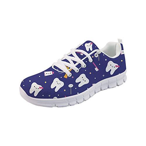 Showudesigns Damen Schuhe Straßenlaufschuhe Atmungsaktiv Sneaker Turnschuhe Laufschuhe Zahn Blau EU 40