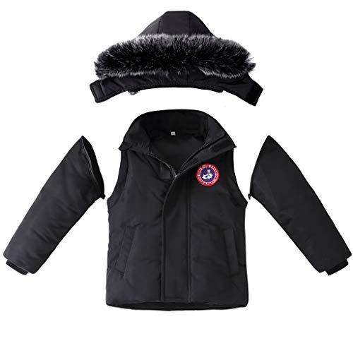 Kids Puffer Jassen Winter Hooded Down Jassen met Verwijderbare Mouwen Jongens Meisjes 2 in 1 Sneeuw Down Gilet Thicken Padded Jacket 4-5 Years Zwart