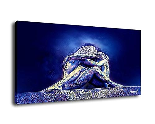 Nude Abstract Art Oil Painting Print On Canvas Modern Wall Art Decorative Lesbian hug(24x36inch-Framed/Ready to hang) (24x36inch)