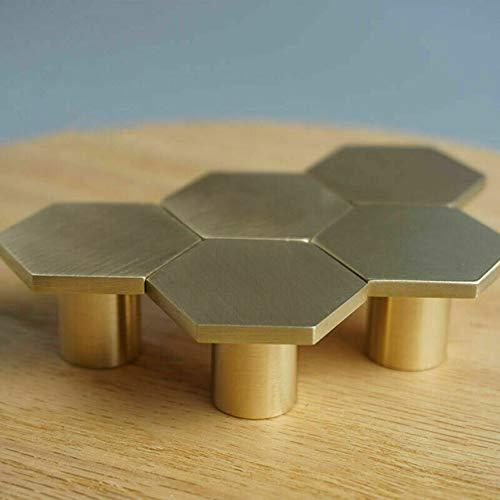 Pomelli esagonali per cassetto, armadietto, cucina, in ottone antico, per armadietti, cassetti, cassetti, cassetti, 6 pezzi, 30 x 21 cm