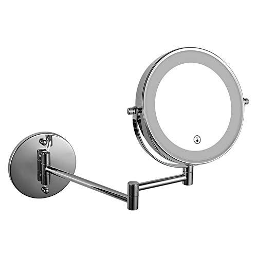 Zhuowei Cosmetic Mirror, LED Luminoso con ingrandimento Pieghevole Trucco Specchio Specchio da rasatura di 360 ° di Rotazione della Parte Girevole Montaggio a Parete Tabella,2