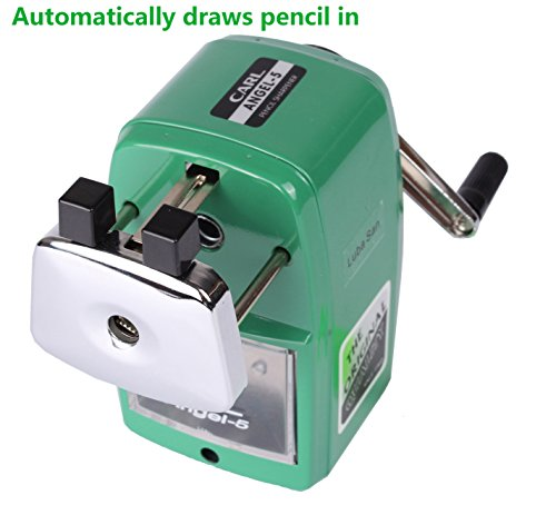 CARL Angel 5 Manual Pencil Sharpener Heavy Duty but Quiet for Office and Home Desks School Classroom,Green Photo #6
