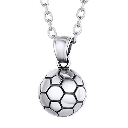 PROSTEEL Football Necklace Boys Stainless Steel Football Pendant and Chain
