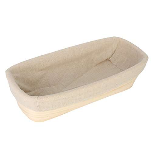 OUNONA Banneton Proofing Basket - Bread Baking Tool with Cloth Linerfor Rising Round Crispy Crust Baked Bread Making Dough Shape Loaf Boules (Rectangle)