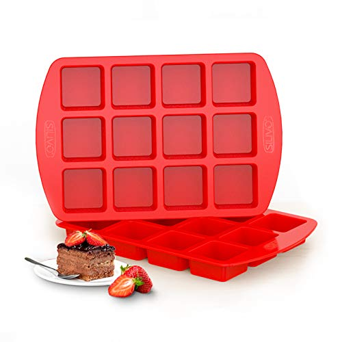 Silicone Brownie Pan with Dividers - Set of 2 - SILIVO Brownie Baking Pan, Non-Stick Silicone Molds for Brownie Bites, Keto Fat Bombs, Fudges, Chocolates, Candies and Minecraft Cakes - 12 Cavity