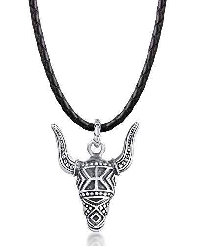 Kuzzoi Herren Leder-Halskette mit Stierkopf Anhänger verziert (29 mm) aus 925 Sterling Silber oxidiert, Echtleder Herrenkette mit Bull Skull geflochten für den Mann, Länge 60 cm